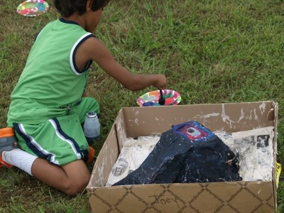youth painted volcanos in preparation for eruptions