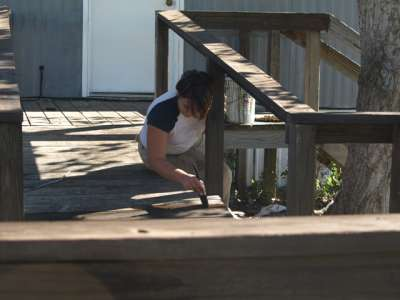 staining porches