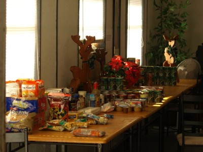 tables of free food are part of holiday giving