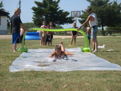 setting up a slip and slide